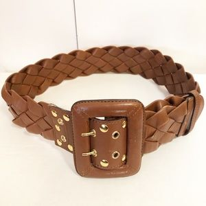 Be & D woven brown leather belt gold grommets S/M